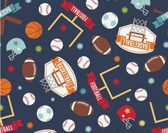 Mixed Sports Fabric / Game Day / Riley Blake c5890/  Mixed by the yard / Fat Quarters and Yardage