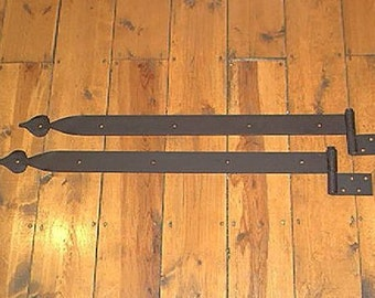 "Pair of 31"" x 2"" Iron Strap Hinges ""Extra Heavy Duty"" Spade Motif. Position A."