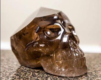Master Smokey Quartz Skull/ Smokey Quartz Gemstone Skull/Handcarved Gemstone Skull from Brazil