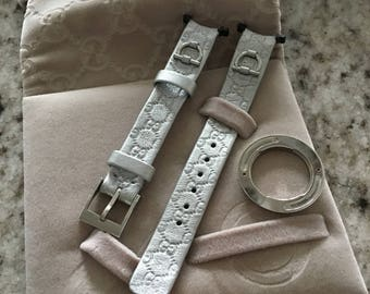 Gucci Small Silver Genuine Leather Watch Strap and Bezel Kit ,New Old Stock, 13R - SR, Gucci Woman's Watch Strap