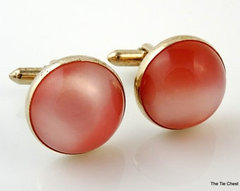 Peachy Pink Vintage Cufflinks Cabochon