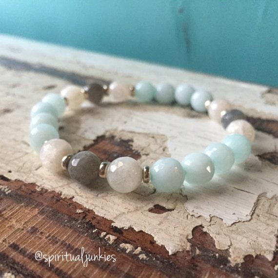 Stackable Mermaid Yogi Amazonite, Moonstone + Labradorite Spiritual Junkies Yoga and Meditation Mala Bracelet