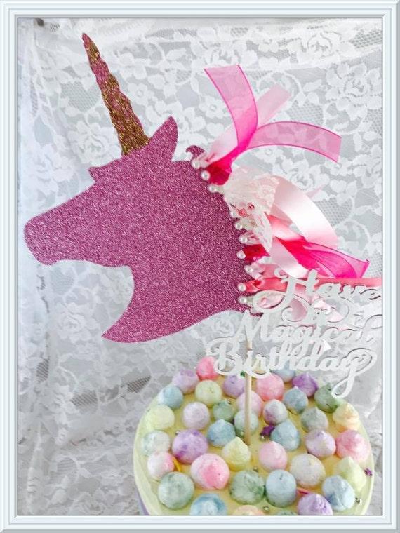 Unicornio pastel topper unicornio party decoraciones for Decoracion para la pared de unicornio