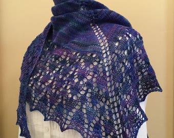 Hand knit shawl, shawlette, scarf, blue violet, merino wool