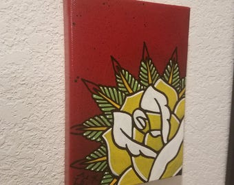 Original Yellow rose 5x7 Acrylic Painting