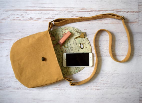 Gold Crossbody Bag, Map Print Purse with Turn Lock Close. Handmade Cross body Handbag with Adjustable Strap & Interior Pocket. Wanderer Bag