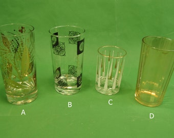 """Various Vtg Tumblers Gold on Clear Mid Century Priced Individually 3.5"""" to 5.5"""" tall"""