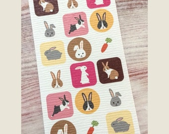 Rabbit Stickers from Japan - Traditional Textured Paper
