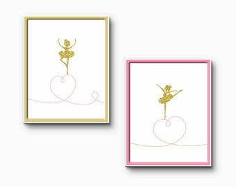 Dancing Ballerina Print set of two prints pink and gold bedroom decor art - custom colours and sizes