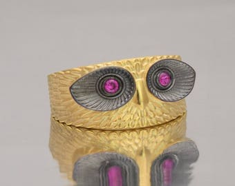 Owl Gold Ring, 18k Gold Owl, Sterling Silver Owl, Wise Owl Ring, Owl Wrap ring, 3D owl ring, Owl Jewelry, Gold Plated Owl Ring, big owl ring