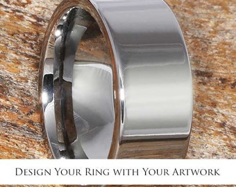 Design Your Own Wedding Band, Custom Tungsten Ring, Artwork Ring, Choose all Your Options, Musical Note Ring, Heartbeat Ring, Custom Ring