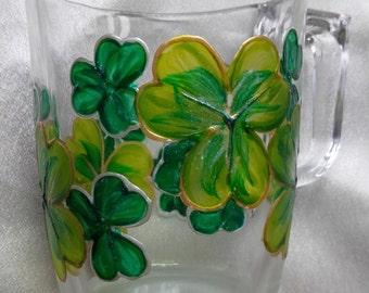 Hand Painted Glass Hot Drinks Mug 'Shimmering Shamrock'.