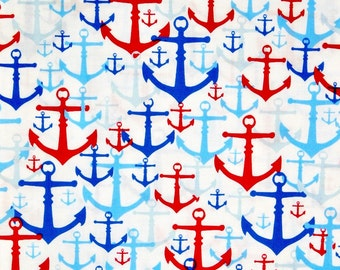 Nautical Crib sheet, Nautical anchors crib bedding, Nautical baby sheets, Red and Blue Nautical anchors crib sheet, Nautical baby gift.