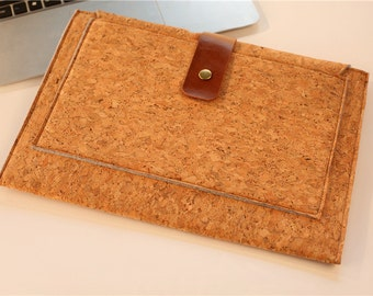 "Macbook 13 inch Case , 13""  Macbook Air Case , 2016 13"" Macbook Pro Sleeve, Cork 13 Macbook , 13'' Sleeve, Inner Flap #241"