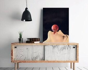 "Kiss print, space wall art, red moon art print, surreal art, mixed media collage art, minimalist art, portrait print art - ""Kiss the moon""."