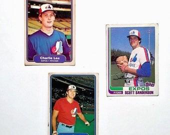 Lot of 3 Vintage 1982 Fleer / Topps Baseball Trading Cards - Montreal Expos - Charlie Lea, Larry Parrish, Scott Sanderson