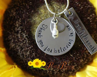Teacher Appreciation Necklace - Thank You Teacher Gift - End of the School Year Gift