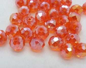 35 beads of glass crystal 10 mm lustrous orange mirror