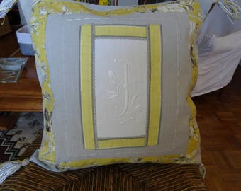 Pillow cover grey linen square C yellow English fabric, vintage bed sheet Monogram;
