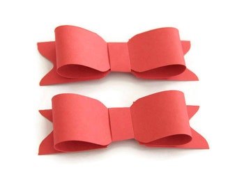 Red paper bows, DIY red bows, Set of 6, gift bows, gift topper,