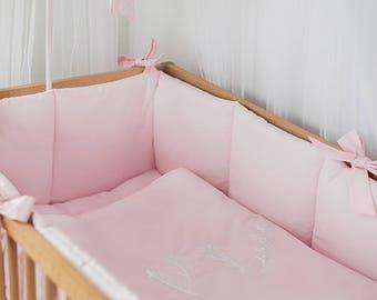 Pink girl nursery crib bumpers – baby bedding – crib guard – pink crib bumper - literie bébé