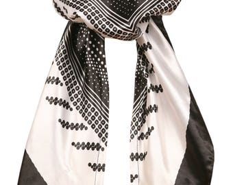 Love Lakeside-Women's Silky Feel, Pre-tied, Fitted Headscarf, Tichel, Chemo Scarf Black & White 5