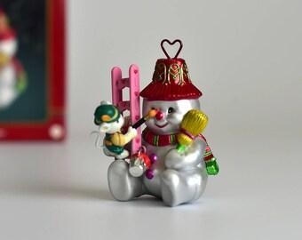 Vintage, Carlton Cards,Christmas Tree Ornament,Merry Meister,Snowman Ornament,Christmas Snoman,Glass Ornamenr