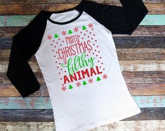 Merry Christmas Ya Filthy Animal Unisesx Raglan