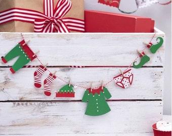 Elf Clothing Washing Line Bunting - Santa & Friends