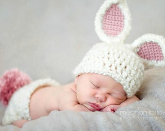 Baby Girl Easter Outfit - Bunny Hat - Newborn Photo Prop - Woodland Nursery - First Easter - Baby Shower Gift - Baby Gift - Baby Girl Hat