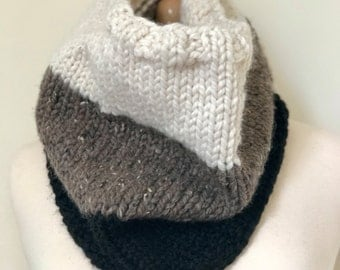 Chunky Knit Scarf for Men and Women, Unisex Cowl, Neutral Cowl in Cream, Grey and Black, Perfect gift for the hipster guy in your life!