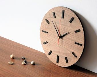 "Wooden clock, 11.9 ""(30 cm), WALNUT, wall clock, modern clock, natural wood,"