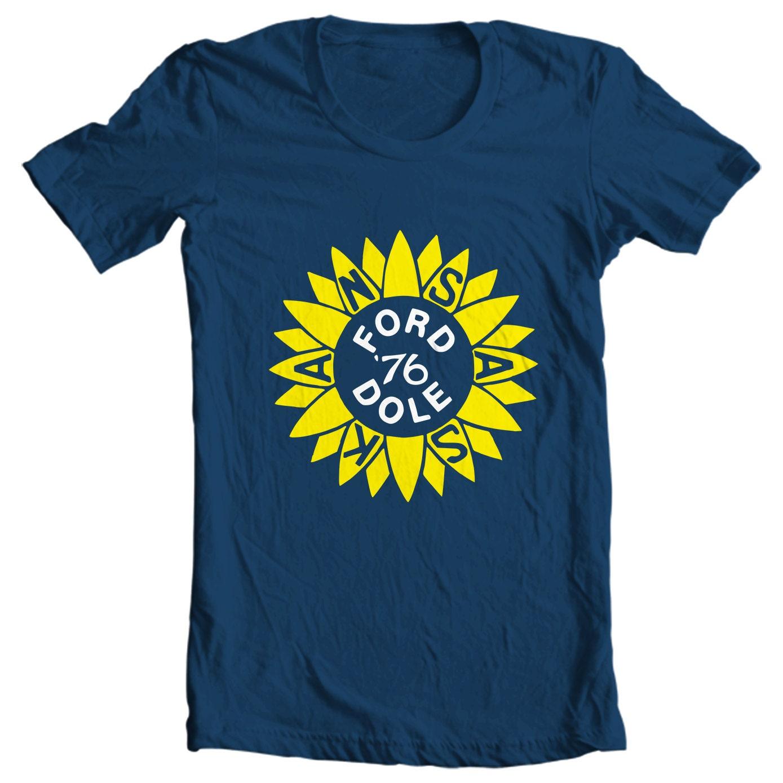 Gerald Ford & Bob Dole 1976 Kansas Political Campaign Button T-shirt