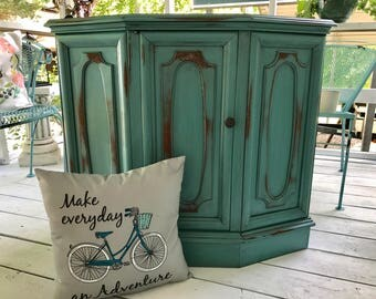 SOLD  Turquoise Distressed Demilune ~ Accent Stand