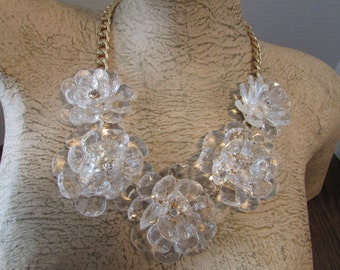 Vintage Large Plastic Lucite Flower Necklace Runway Statement Flower Chain Necklace