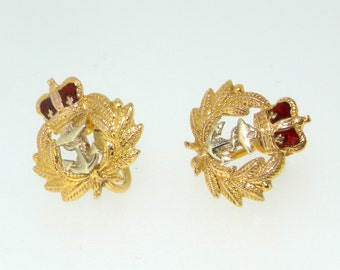 9ct yellow gold military insignia crown and anchor earrings Birmingham 1955