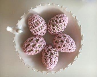 Easter egg decor - crochet eggs - Easter ornaments - paper mache eggs - Easter crochet cover - Easter egg ornaments - Easter decor gift