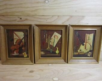 Set of 3 Vintage Framed Lithograph Prints of Musical Instruments Trumpet, Cello & Banjo * Framed Cello, Banjo and Trumpet Litho Prints