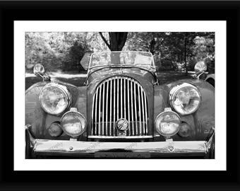 Gift for him, CARS, Vintage car, Father's Day car photo, Antique Car photo, BLACK and White digital photo, Metal car art, abstract art photo