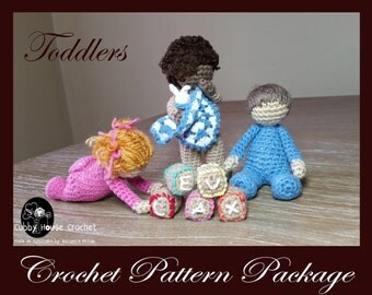 Crochet Pattern Package- 3 x patterns included. Standing toddler EZRA, Sitting Toddler AIDAN, Crawling Toddler BETHANY