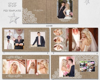 12X12, 10x10  PSD (40 pages), Wedding Album Template - 20 spread + Cover, Vintage Canvas & Lace - AL11