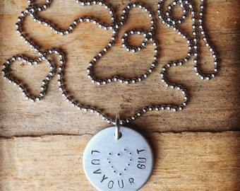Luv your Gut handstamped necklace