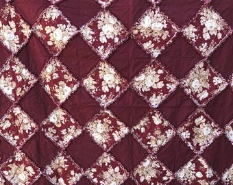 "Beautiful Burgundy Floral-Solid Burgundy Rag Quilt Reversible 69""x69"""