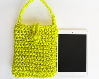 Tablet Sleeve, Tablet Cover, Neon Yellow iPad Sleeve, iPad Case, iPad Protector, Tablet Protector, Handmade, Custom Sizing Available