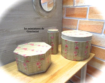 3 Miniature hat boxes  - scale 1:12- Dollhouse miiniature