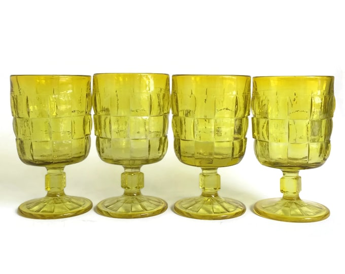 Ashley Citron Yellow Goblets by Viking Art Glass Country Craft by Viking Set of Four