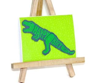 Dinosaur Birthday Card, Handmade Card, Happy Birthday T-Rex, Tyrannosaurus, Dinosaur Themed Birthday, Birthday Boy, Dinosaur Lover, Pop out