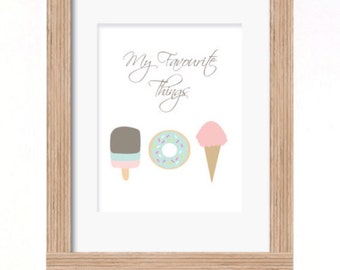 A4 My favourite things ice cream donut print