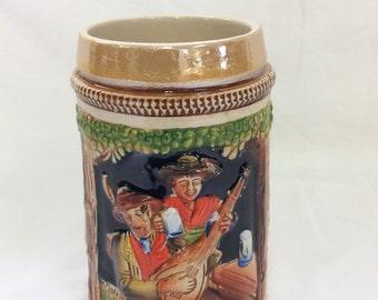 German beer mug, Original King 4, Western Germany, 1/4 Pint, 2 Drunks and a mandolin, Countryside scene, Imp D' Allemange