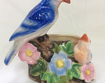 Flower planter, Bluebird and chick planter, Flower and bird planter, Ceramic planter, Hand painted, TreasuresinTyme